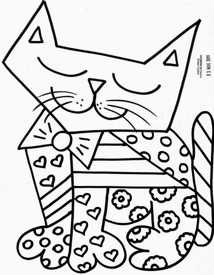 Desenhos de obras de Romero Britto para pintar, colorir, imprimir! Romero Britto moldes e riscos de telas - Espaço Educar desenhos para colorir