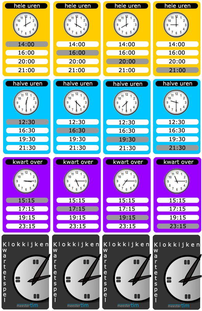 deel1 Kwartet Kloklezen met hele uren - halve uren en kwartier.  Klaar om uit te printen. GRATIS