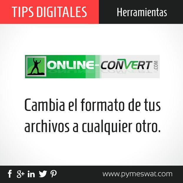 #TipsDigitales Si necesitas convertir el formato de algún archivo, online-convert.com es una herramienta gratuita que te ayuda a hacerlo #videos #música #archivos
