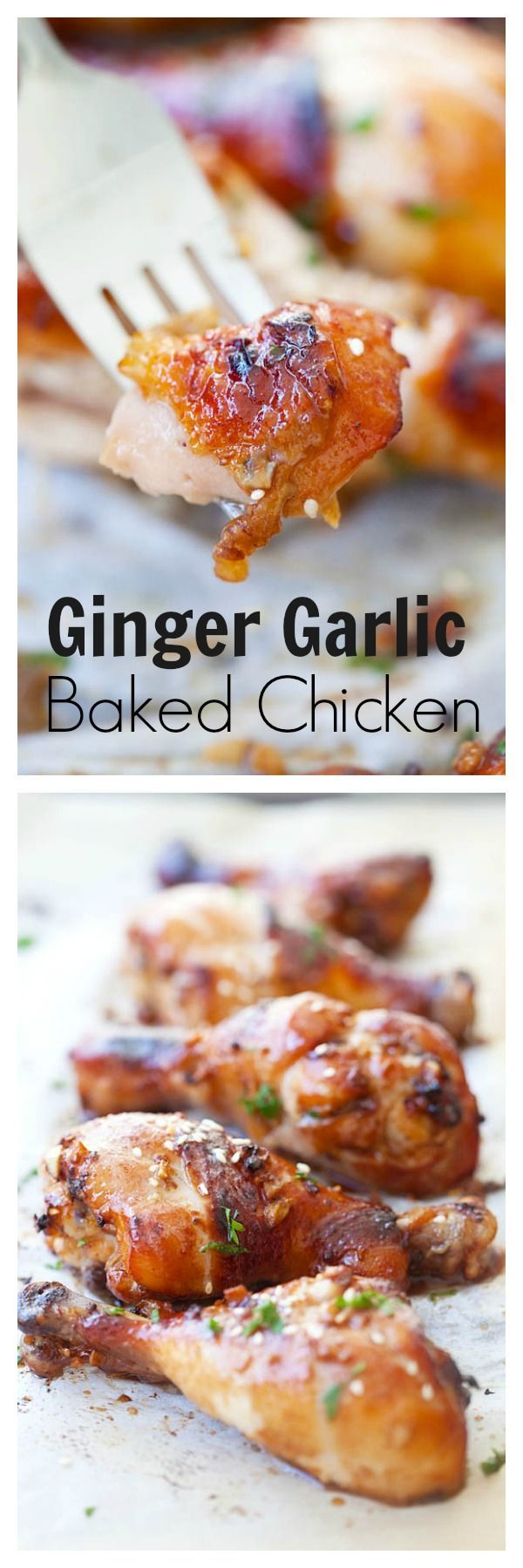 Ginger garlic baked chicken - marinated with honey, soy, ginger & garlic. The juiciest and most delicious chicken EVER | rasamalaysia.com