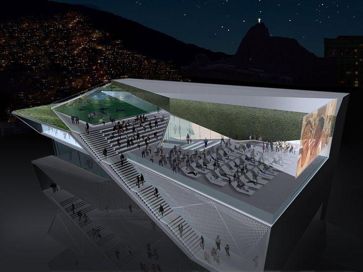Projeção do terraço do MIS/RJ, que contará com cinema a céu aberto