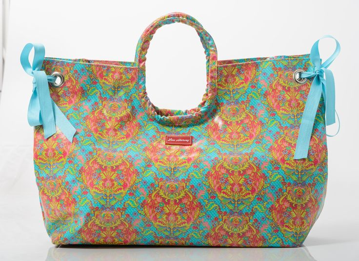 Fabulous size! Ribbons to make the bag even bigger! Indian Summer Large Beach Bag  www.gumbootsandcurls.com.au