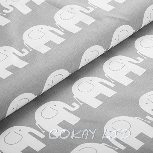 """100% Cotton Printed Fabric Material - by the METRE -wide 160 cm (64"""") Grey Elephants COKAY LTD http://www.amazon.co.uk/dp/B00TP7TPNM/ref=cm_sw_r_pi_dp_gB3twb1DJJSEQ"""