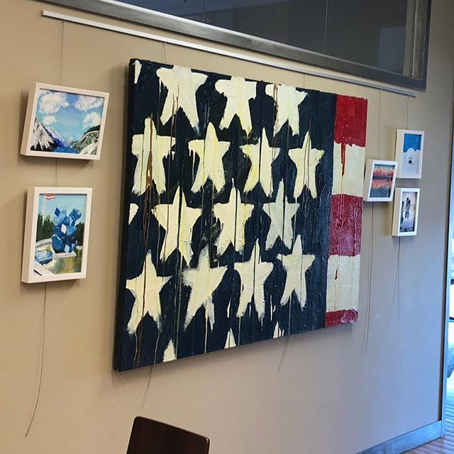 The big one is from a flag series I painted in the late 1980s. It is flanked by a set of oil paintings that my father has painted in the last 6 months.  The Connectedness show opens tomorrow (Monday) at 6pm at Ashenfelter Slous McDonough & Trevanen in Montclair NJ. #njarts #njartists #atlantaart #atlantaartist #artshow #artopening #acrylicpainting #oilpainting #art #artist #retrospective #groupshow