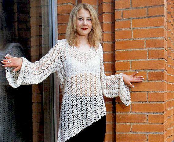 Asymmetric crochet tunic autumnspring by OnlyFavoritePATTERNs