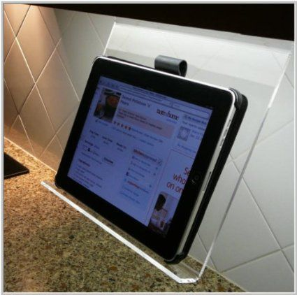 The Original Kitchen iPad RackTM is the MISSING LINK for your iPad, iPad Mini, iPhone or any other electronic phone/tablet device in the kitchen. Super-easy to use, it stores away in the cabinet when not in use and pops into place when you're ready to cook.