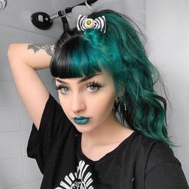 Dark Green Black Split Hair Color Horrorhailey Split Hair Dark Green Hair Hair Color For Black Hair