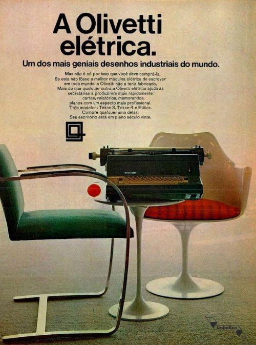Máquina de escrever Olivetti, #Brasil  #anos60  #retro
