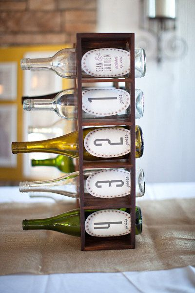 A great alternative to a guest book. Have guests put love notes into various bottles. Open and read the notes on anniversaries.