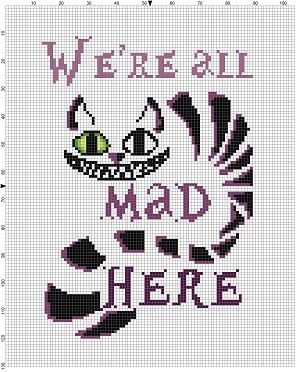 The Cheshire cat speaks the truth, we are truly and deeply mad here. Modern cross stitch pattern is designed on 14 count Aida. It will run a little less than 6x9 and will look awesome in an 8x10 frame with a matte. I recommend a dark purple matte. This pattern will come with 2 different sized full colour patterns, for printing or viewing convenience, and a handy little tips and tricks printout to help you in your quest for cross stitching awesomeness. I would recommend, if you want, to…