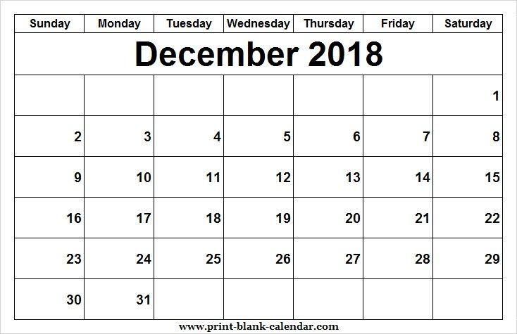 Editable 2018 December Calendar Design Printblank Pinterest