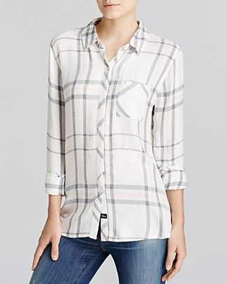 Rails Hunter Plaid Shirt | Bloomingdale, white, charcoal and pink