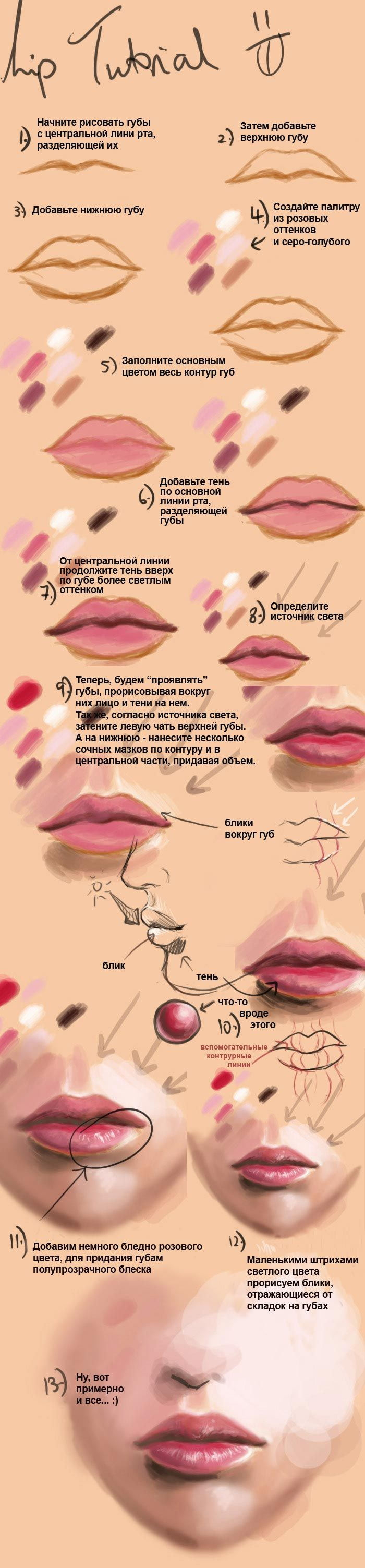 Как рисовать реалистичные губы *