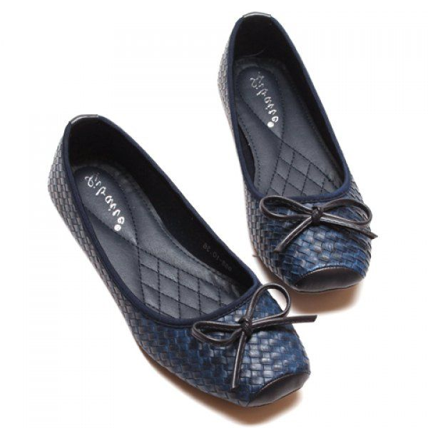 Stylish Bowknot and Checked Design Women's Flat Shoes, BLUE, 39 in Flats | DressLily.com