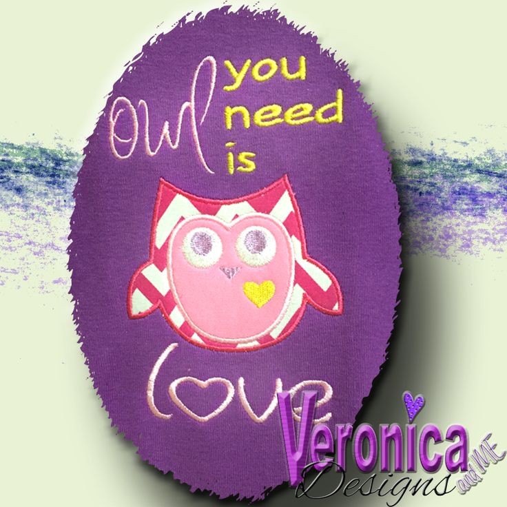 Owl You Need Is Love Appliqué Embroidery Design