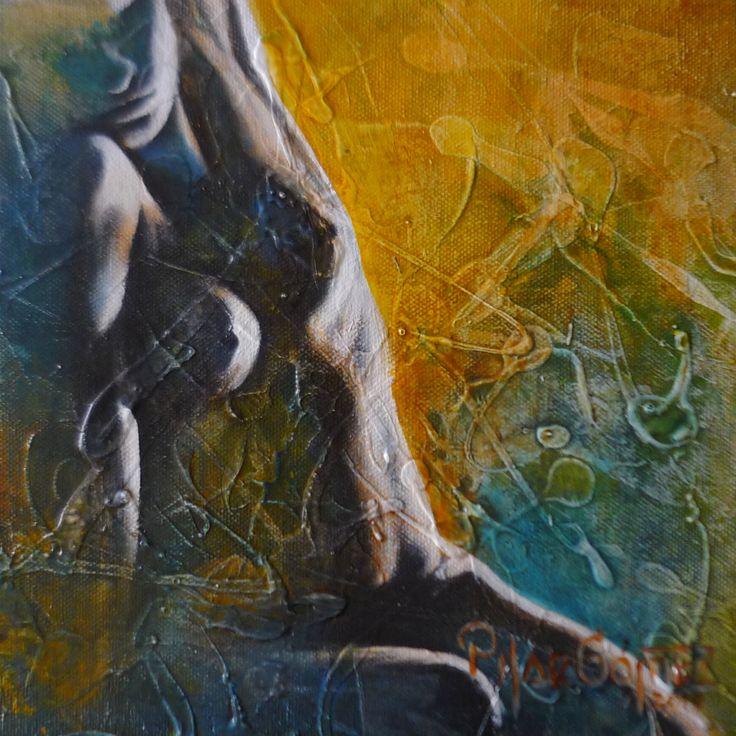 """""""MIRADA PASIONAL"""" .Tècnica mixta sobre tela de 18 X .18CM. 2014., Galerìa Cultural Duque. MINIART BRASIL PORTO ALEGRE Y GRAMADO RIO GRANDE DO SUL"""