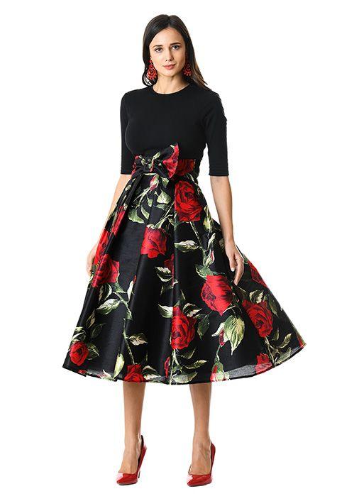 77ff5bb1f47 I <3 this Floral print dupioni and cotton knit dress from eShakti ...