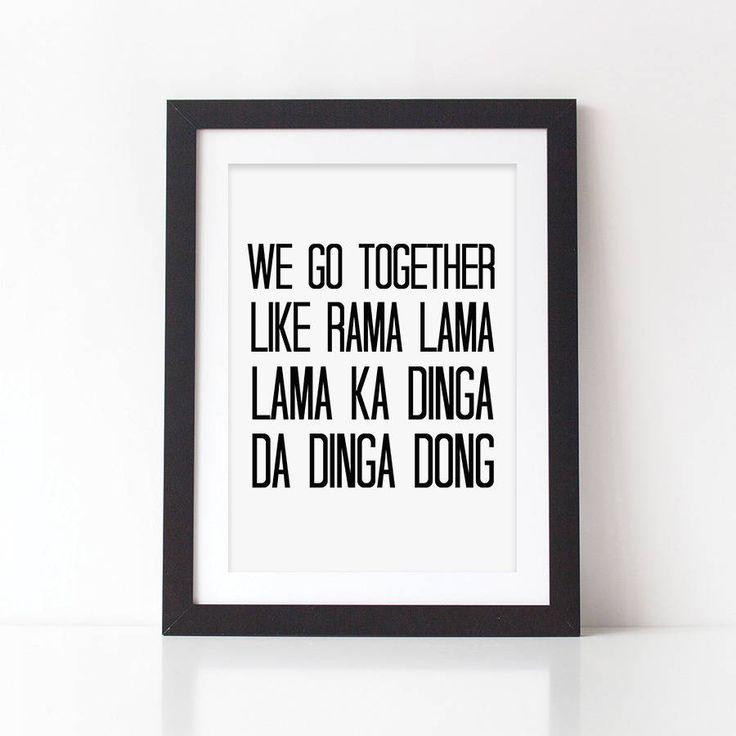 'We Go Together' Grease Lyrics Print