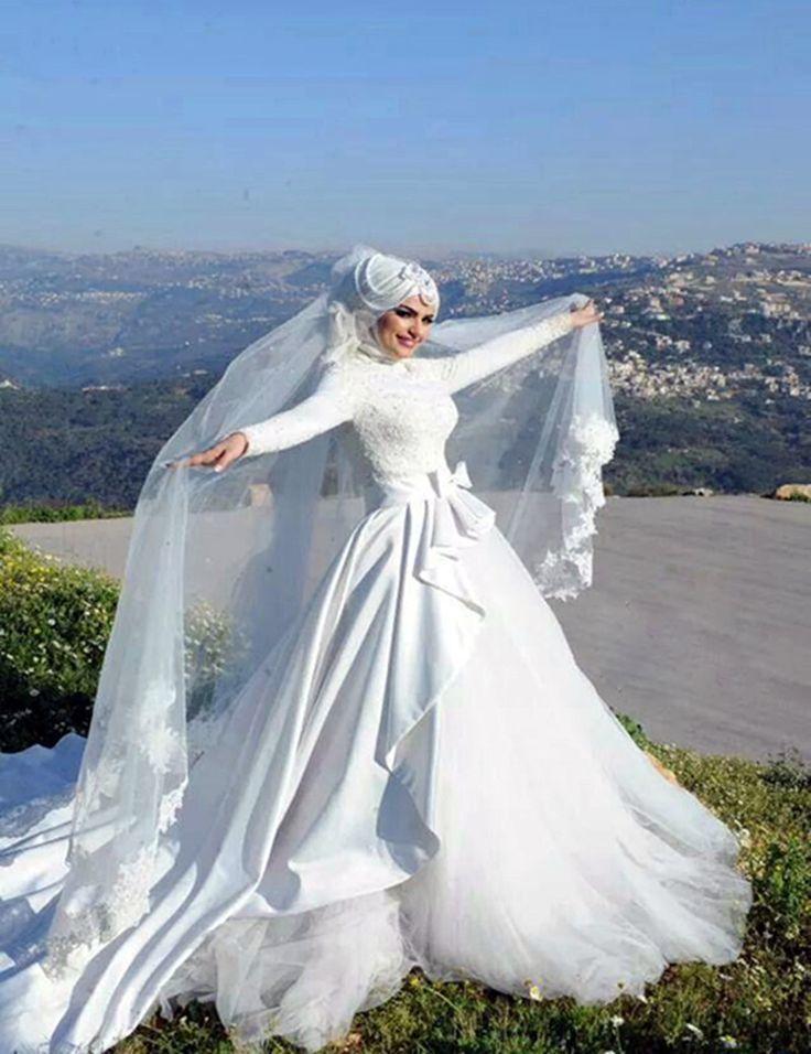 de Hijab De Mariée sur Pinterest  Mariage styles de hijab, Robes de ...