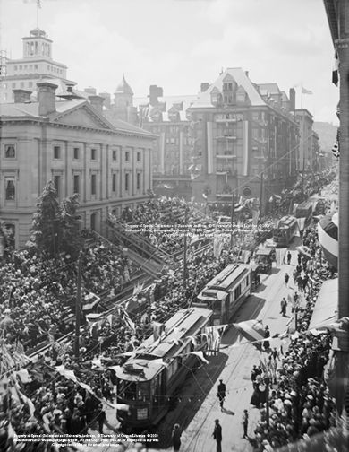 Trolleys Decorated for Rose Festival SW Morrison Street circa 1915 Portland Oregon