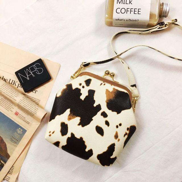 Milk Cow Pattern Women Corssbody Bags Leather Handbags Shell Shape Fashion Vintage Style Lady Female Bags Shoulder