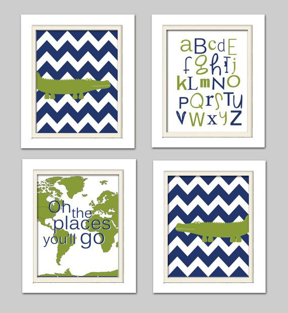 Alligator Nursery, Alligator Nursery Decor, Alligator Nursery Art, Madras Nursery, Set of 4, 8X10