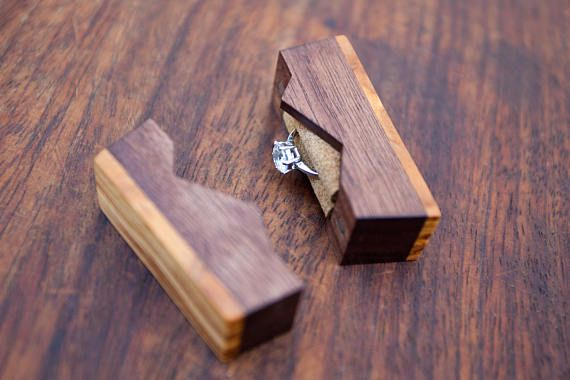 """Ring box """"The Mountain"""", made from walnut and olive wood – engagement ring box – proposal ring box – Made to order"""