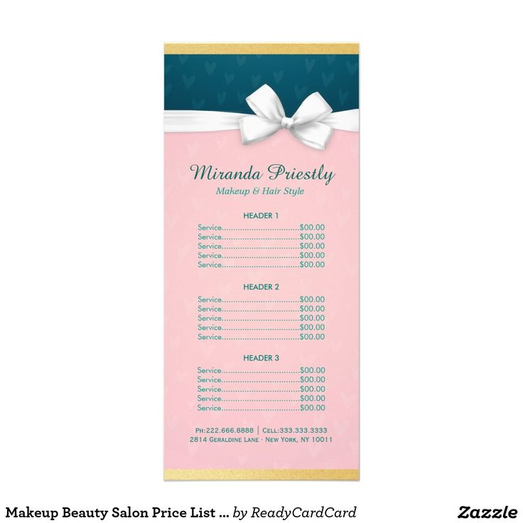 Makeup Beauty Salon Price List Pink \ White Ribbon Rack Card - salon price list