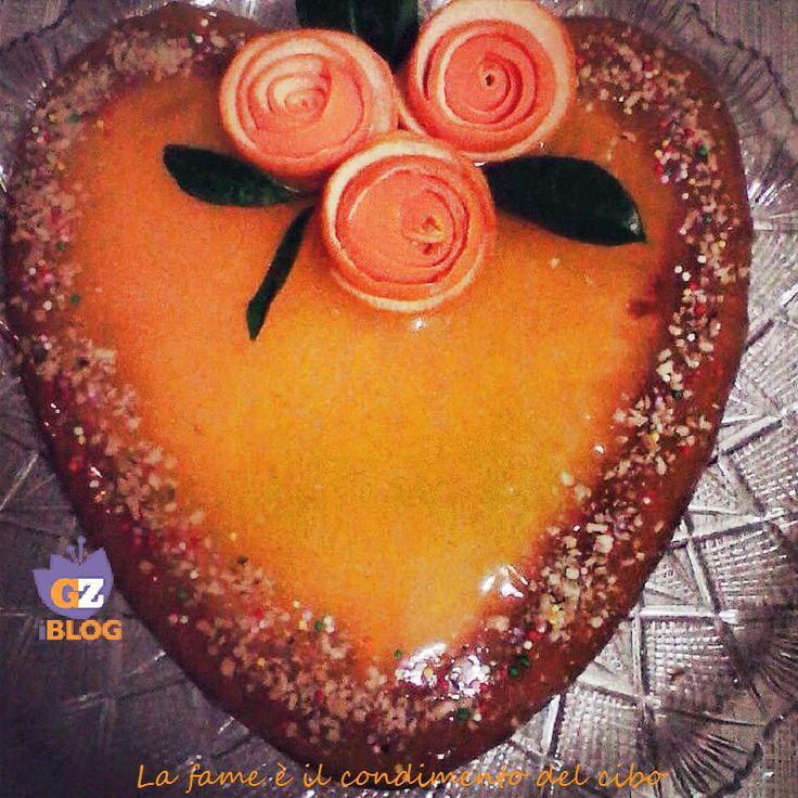 Torta a Cuore di Crema all'Arancia #dolce #torta #arancia #ricetta #love