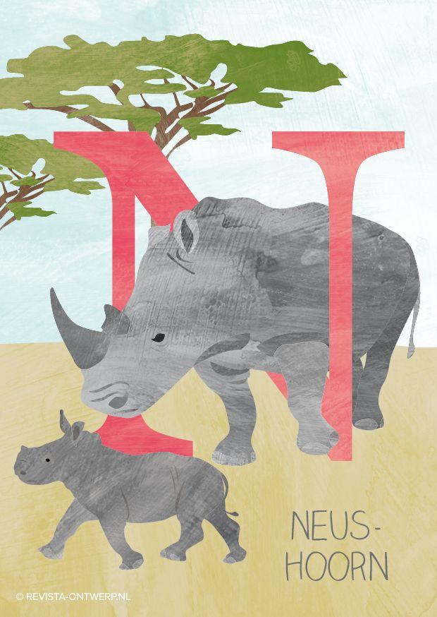 De N is van neushoorn, een erg groot beest. Op een dag kan hij wel 100 liter drinken!