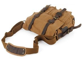 leather and canvas military messenger bag by Serbags