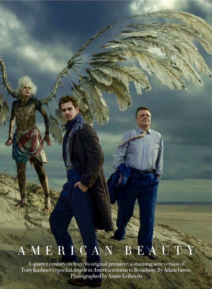 "Marianne Elliott's stunning new production of ""Angels in America,"" which, after a great run at London's National Theatre during the 2017 summer, comes to Broadway in February, 2018, after 25 years. The cast, from left, includes (pictured): Amanda Lawrence, Andrew Garfield, and Nathan Lane. Photographed by Annie Leibovitz for Vogue February 2018 issue."