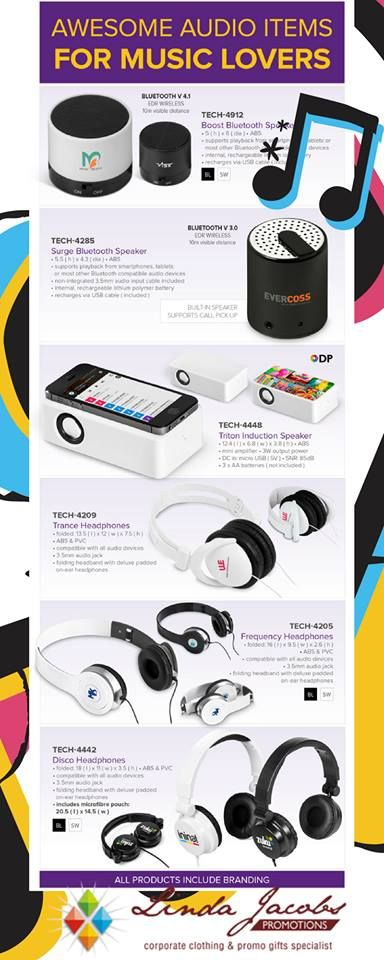 Amplify your brand with our headphones & speakers🎵  For more info - See more products on our website - http://www.lindajacobspromotions.co.za/ Email: linda@lindajacobspromotions.co.za