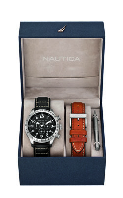 Get this for him: The time-checker.  A smartphone is not an elegant time teller. This Nautica watch set ($175, nautica.com) offers two interchangeable bands to finish a look, no matter if it's a navy or black suit kind of day.
