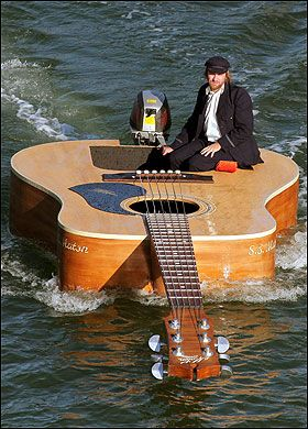 Guitar boat....good that it's not an electric guitar