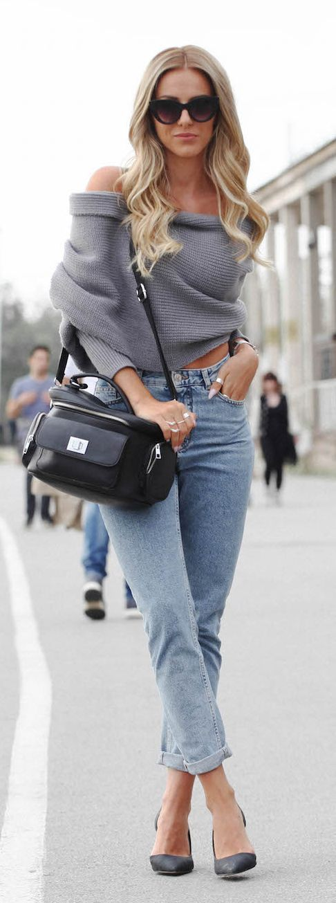 Drape Off Shoulder Sweater Casual Style
