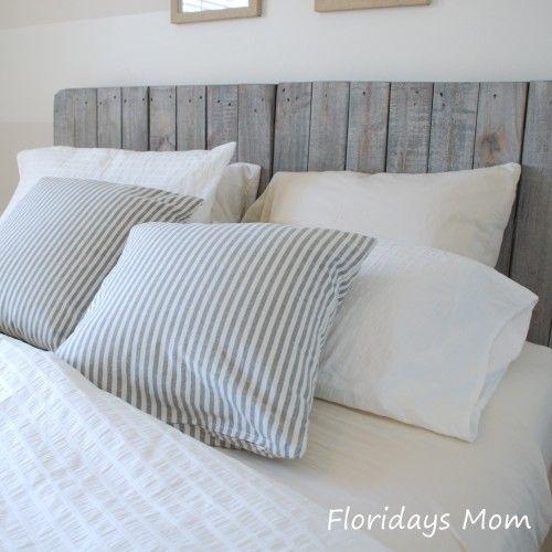 Wood palette headboard palette diy headboard guestroom - Tete de lit en bois fait maison ...