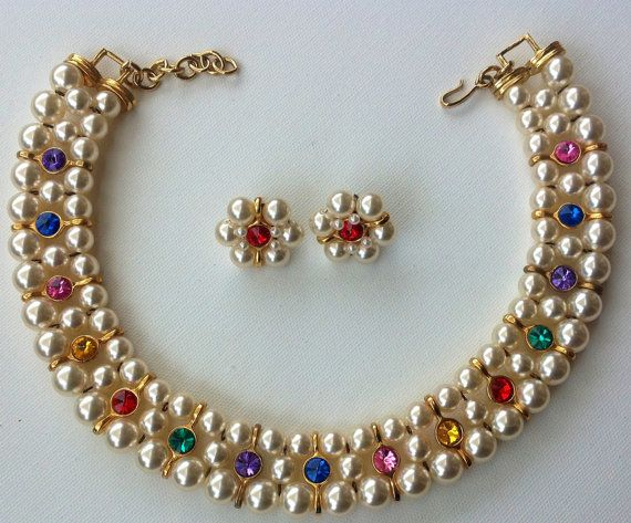 Vintage necklace earring set gemstone & pearl by AgainAgainVintage, $110.00