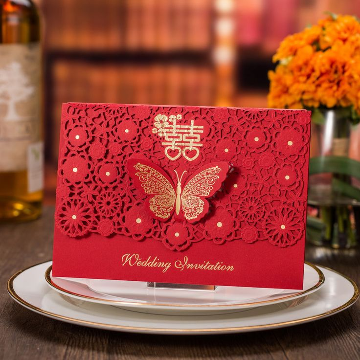 chinese wedding invitation card in malaysia%0A    pieces Chinese Red Happiness Wedding Invitation Card  Laser cutting  Style Gold Foiling Butterfly knot