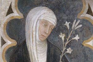 Andrea Vanni - Santa Caterina da Siena e una devota, dettaglio - affresco - 1375 - Siena, Basilica di San Domenico - Cappella delle Volte