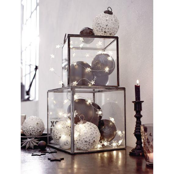 Kugel-Set, 4-tlg., silberne Sterne, Glas