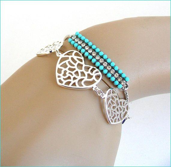 Silver heart/strass woman bracelet bangle Bracelet coeur