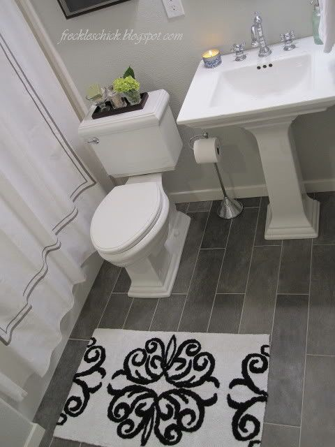 Bathroom tile, (we chose the 6 x 24 size).  Our tiles are from Crossville Ceramics, more specifically their Plan series.