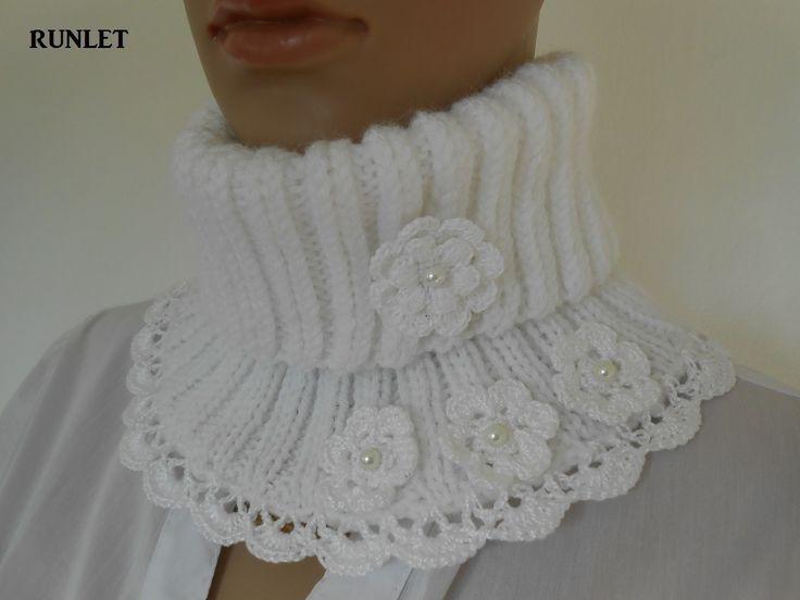 col snood femme ,taille adulte.fait a main . blanc . : Echarpe, foulard, cravate par runlet