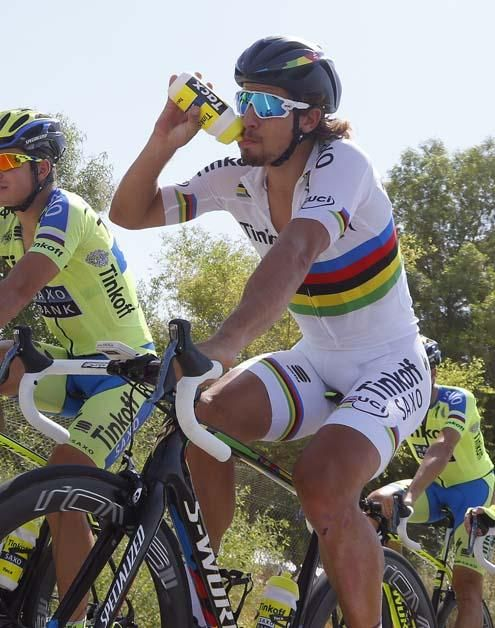 Peter Sagan and the Tinkoff-Saxo team out training (Bettini Photo)