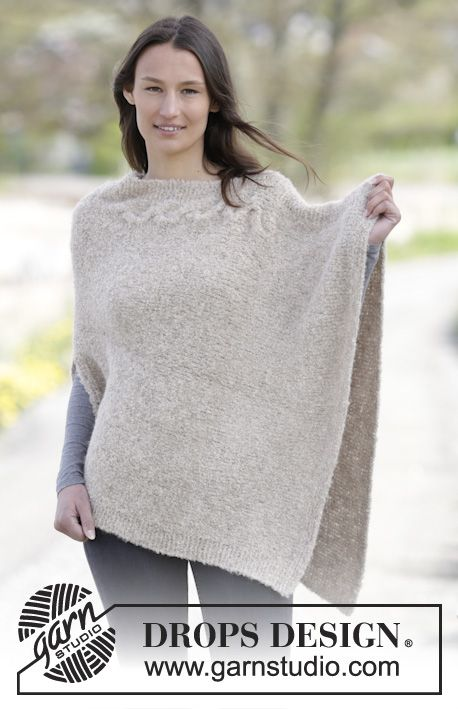 #DROPSDesign #poncho in garter st and stockinette st with #cable  #knitting
