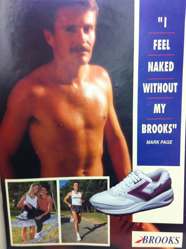 """I Feel Naked Without My Brooks"" Old school Brooks Running Shoe advert in Runner's World, 1993."