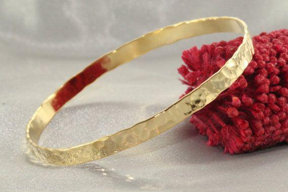 Shiny BanglesHammered Gold BangleSolid GOLD by LIRANSHANI on Etsy