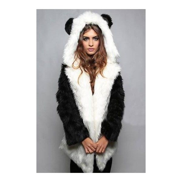 Yoins Panda Hooded Artificial Fur Coat (64 CAD) ❤ liked on Polyvore featuring outerwear, coats, hooded coat, faux coat, fur coat, fur hooded coat and faux fur coat