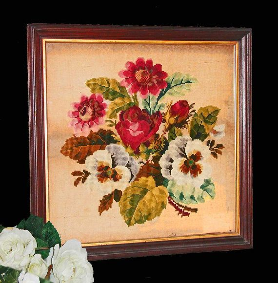 Large Victorian Needlepoint/Berlinwork Bouquet of by PruAtelier